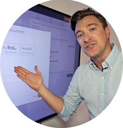 Co-founder Mathias demonstrates the software