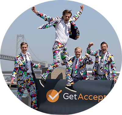 GetAccepts founders in their iconic suits