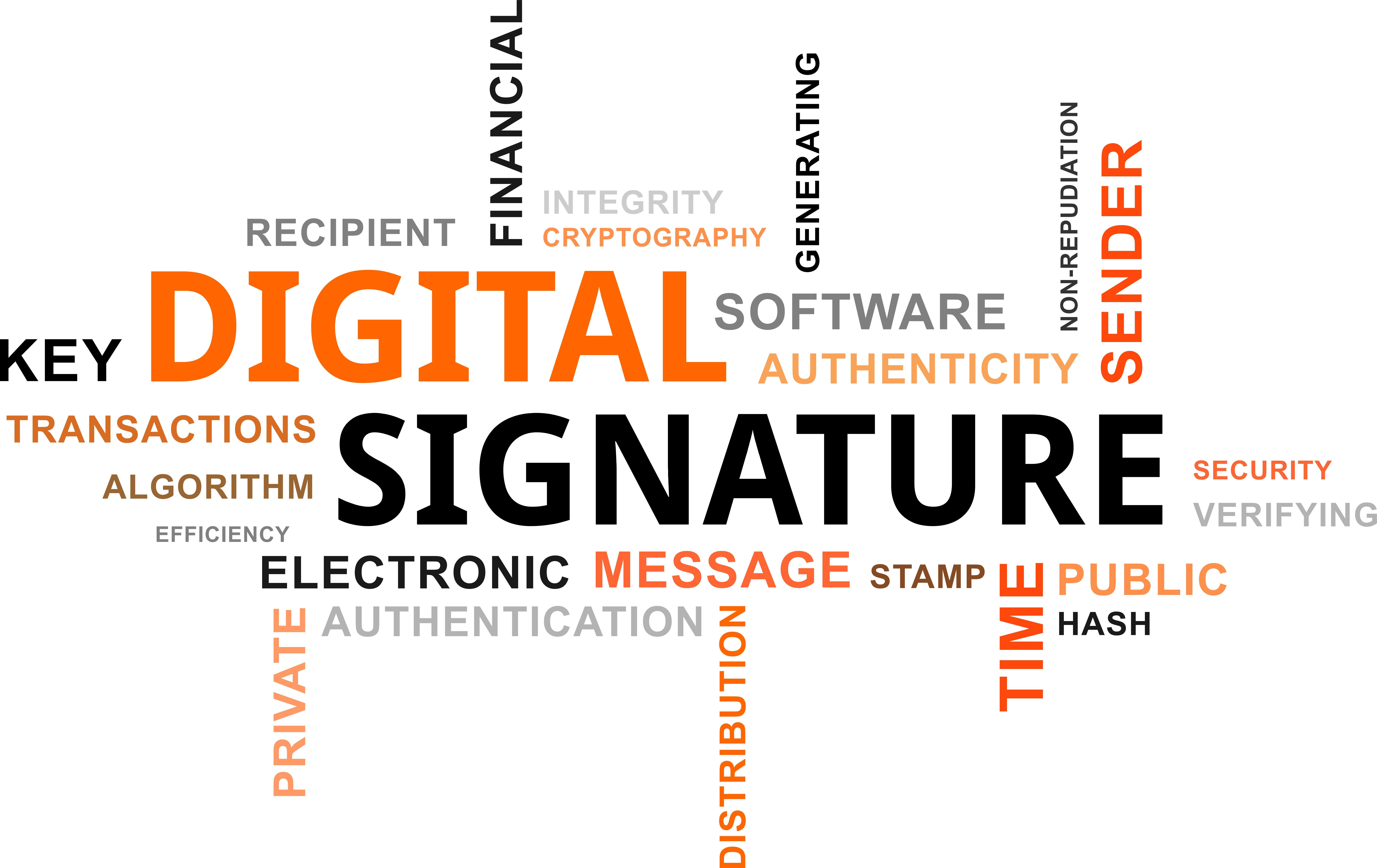 word cloud - digital signature